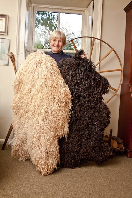 Shelagh with some sheepskins